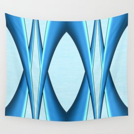 Two Tone Blue Modern Digital Art Wall Tapestry