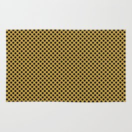 Spicy Mustard and Black Polka Dots Rug