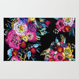 Colorful Floral Painting on Black Canvas. Rug
