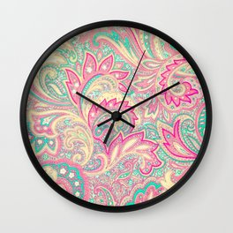 Pink Turquoise Girly Chic Floral Paisley Pattern Wall Clock