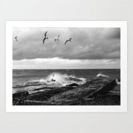 Storm at Five mile Point, Lake Superior Art Print
