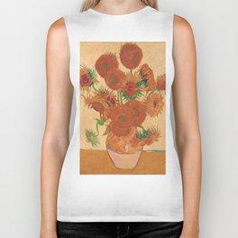 Still Life: Vase with Fourteen Sunflowers by Vincent van Gogh Biker Tank