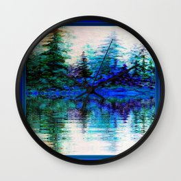 BLUE SCENIC MOUNTAIN PINES LAKE REFLECTION ART  PATTERNS Wall Clock