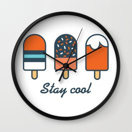 Stay cool popsicles in blue and orange  Wall Clock
