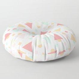 Retro pastel colors geometric shapes ornament Floor Pillow