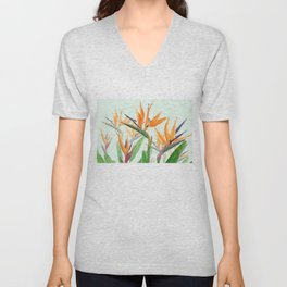 bird of paradise flower painting Unisex V-Neck