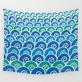 Blue Beach Waves Wall Tapestry