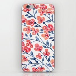 Cherry Blossoms – Melon & Navy Palette iPhone Skin