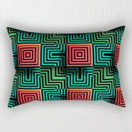 Color op art squares and striped lines with realistic effect Rectangular Pillow