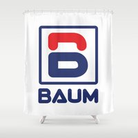 tenenbaum Shower Curtains featuring Richie 'Baum' Tenenbaum T-Shirt by Tabner's