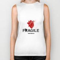 anatomical heart Biker Tanks featuring Fragile Anatomical Heart(RED) by J ō v