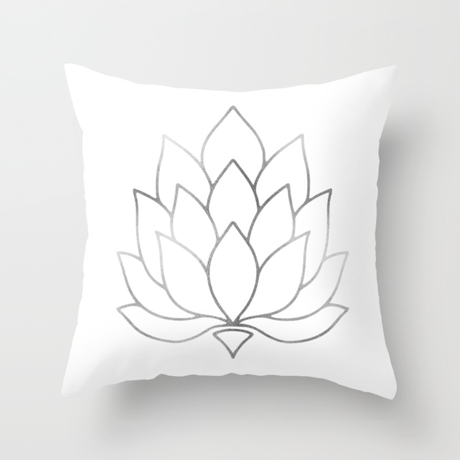 Silver Foil Lotus Flower Throw Pillow By Leahmcphail Society6