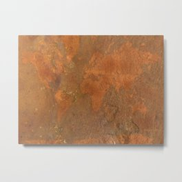 Rock Map 1 - Organic World Map Series Metal Print