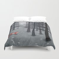 tote Duvet Covers featuring The Fox and the Forest by Nic Squirrell
