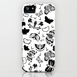 Black and White Butterflies iPhone Case