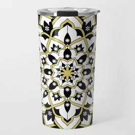 'Immortal Spirit' Mandala Black Gold White Travel Mug