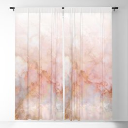 Beautiful Pink and Gold Ombre marble under snow Blackout Curtain