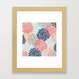 Floral Bloom Print, Living Coral, Pale Aqua Blue, Gray, Navy Framed Art Print