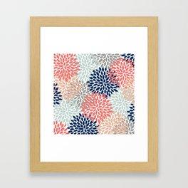 Floral Bloom Print, Living Coral, Pale Aqua Blue, Gray, Navy Framed Art Print