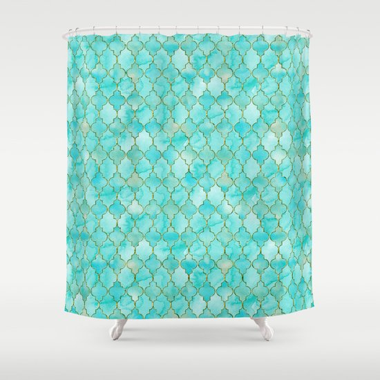 Luxury Aqua Teal And Gold Oriental Quatrefoil Pattern Shower Curtain By Bette