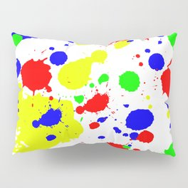 Colorful Paint Splatter. Pillow Sham