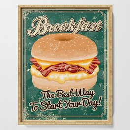 Retro Breakfast Sandwich Sign Serving Tray