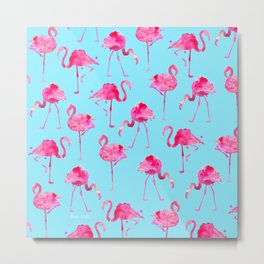 Floridian Flamingos - Blue Metal Print