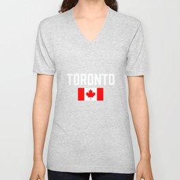 Toronto Canada Flag Ontario City Province Canadian Unisex V-Neck