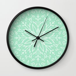 Single Snowflake - Mint Green Wall Clock
