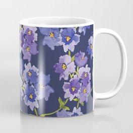Purple Watercolour Blossom All Over Pattern Coffee Mug