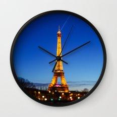 Eiffel Tower and Bokeh. Wall Clock