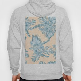 Tropical Flowers and Leaves Blue on Peach Coral Hoody