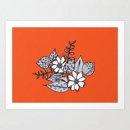 Orangey Gray Floral Art Print