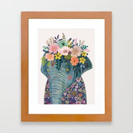 Elephant with flowers on head Framed Art Print