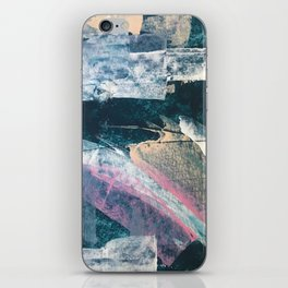 Karma [1]: a vibrant, abstract mixed-media piece in pink, peach, white and teal iPhone Skin