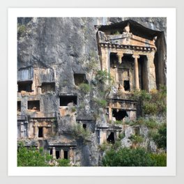 Rock Tombs Photograph Fethiye Art Print