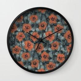 Orange Flowers Wall Clock
