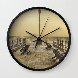 February Sunrise over Swanage Jetty Wall Clock