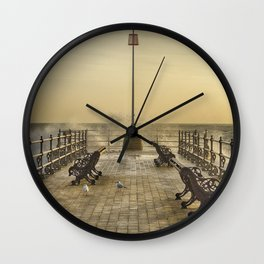 February Sunrise over Swanage Jetty Wall Clock