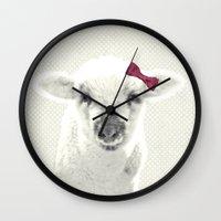 lamb Wall Clocks featuring LAMB by SUNLIGHT STUDIOS  Monika Strigel