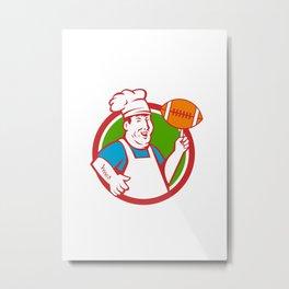 Fat Chef Cook Twirling Football Circle Retro Metal Print