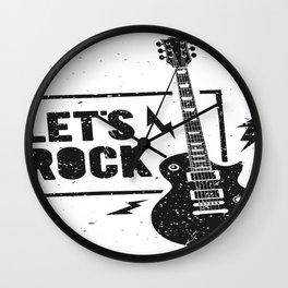 Lets Rock Guitarre Wall Clock