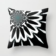 The Modern Flower Black White Blue Throw Pillow