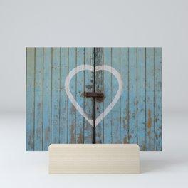 Rustic Blue Heart Mini Art Print