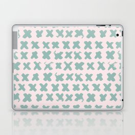 Contemporary X Paint Cross stich Pink Mint Pattern Laptop & iPad Skin