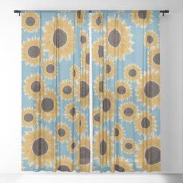 Big Yellow Sunflowers Blue Honeycomb Tile Sheer Curtain