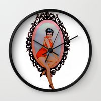 pin up Wall Clocks featuring Pin Up by Lydia Dick