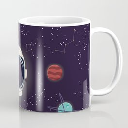 Universe with planets, stars and astronaut helmet seamless pattern 003 Coffee Mug