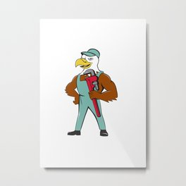 Bald Eagle Plumber Monkey Wrench Cartoon Metal Print