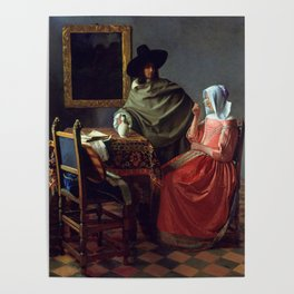 """Johannes Vermeer """"A Lady Drinking and a Gentleman"""" Poster"""